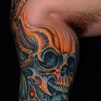 biomeccanica blu re schelettro tatuaggio
