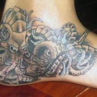 bomeccanico polipo sul piede tatuaggio