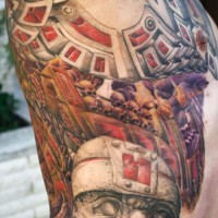 Biomechanical tattoo with stone statues