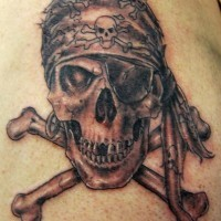 Classic pirate skull tattoo