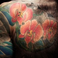 Red orchid flower tattoo on whole body