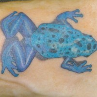 Poisonous blue dotted frog tattoo