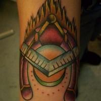 Irish luck horseshoe tattoo for Blue horseshoe tattoo