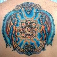 Atom and deity coloured tattoo
