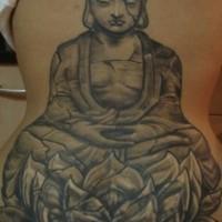Large stone buddha on lotus tattoo