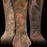 Sacred buddhist places tattoo on arm