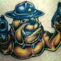 Sheriff bulldog with guns tattoo