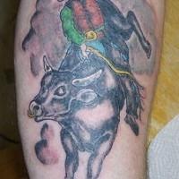 toro rodeo tatuaggio colorato
