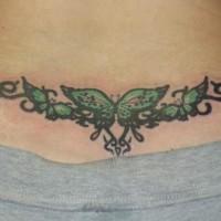 Chain of butterflies butt tattoo