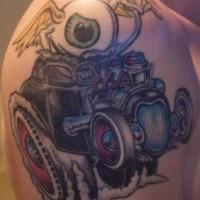auto da corsa trascinato con bulbo oculare in volo tatuaggio
