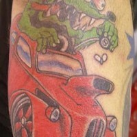 Green mouse on hot rod tattoo