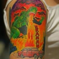 Godzilla snorts fire on car comics tattoo