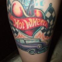 Love the hot wheels leg tattoo