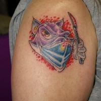 Cartoonish doctor tattoo on shoulder