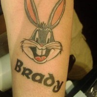 Bugs bunny face with name brady