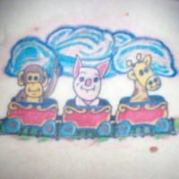Cartoonish monkey pig and giraffe tattoo