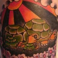 Tatuaggio stilizzato la famiglia delle tartarughe
