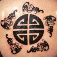 stile asiatico pietra simbolo tatuaggio