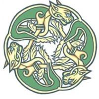 bestie celtiche trinita' disegno colore verde tatuaggio