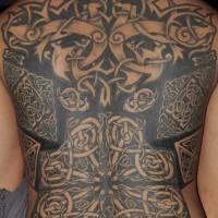 celtico stile pieno di schiena tatuaggio