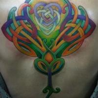 celtico trafori colorato tatuaggio sulla schiena