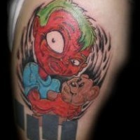 Crazy kid with bear tattoo in colour
