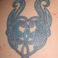 Blue celtic love knot tattoo