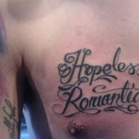 Hopeless romantic lettering text tattoo