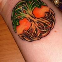 Celtic world tree coloured wrist tattoo