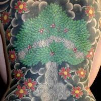 Cherry blossom tree tattoo on whole back