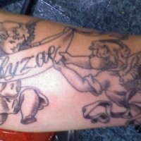 Two cherubs arm tattoo
