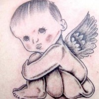 Baby cherub black ink tattoo