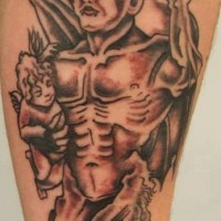 Devil with cherub in hands tattoo