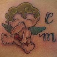piccolo cherubino cartone animato  tatuaggio colorato