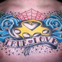 True love chest tattoo