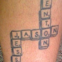 Children names tattoo on game of words