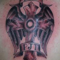 alati iniziali croce memoriale tatuaggio