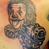 Albert clown with gun tattoo