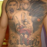 Latin zombie clown full front tattoo