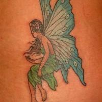 Blaue geflügelte Fee Tattoo