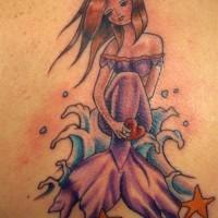 Colorful mermaid in dress tattoo