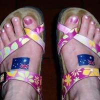 bandiera australiana tatuaggio su entrambe piede