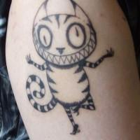gatto nero pazzo sorridente inchiostro tatuaggio