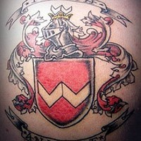 Heraldic shield with writings tattoo