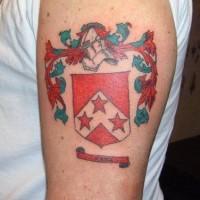 Red shield city emblem tattoo