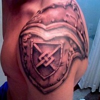 Plate armour shoulder tattoo