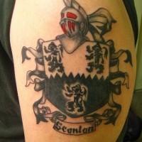 Knight and three lions on shield tattoo