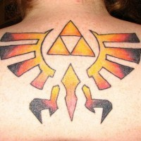 Coloured triforce symbol tattoo
