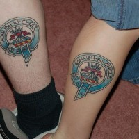 Coloured family symbol on legs