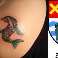 Franklin city emblem tattoo on shoulder